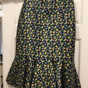 J.Crew Trumpet skirt in lemon jacquard NWT